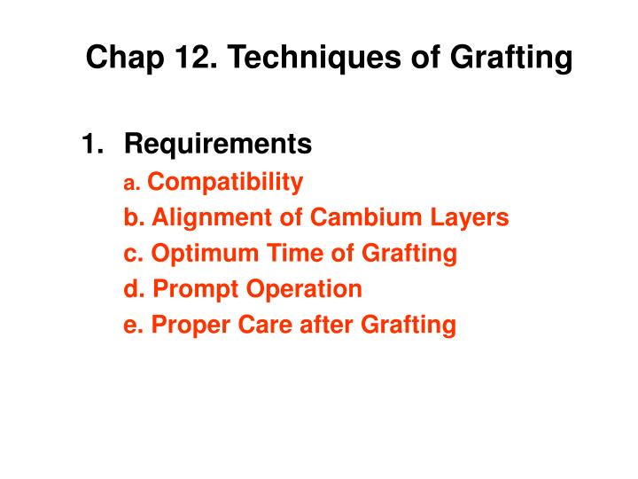 chap 12 techniques of grafting n.