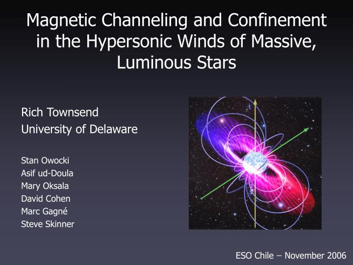 magnetic channeling and confinement in the hypersonic winds of massive luminous stars n.