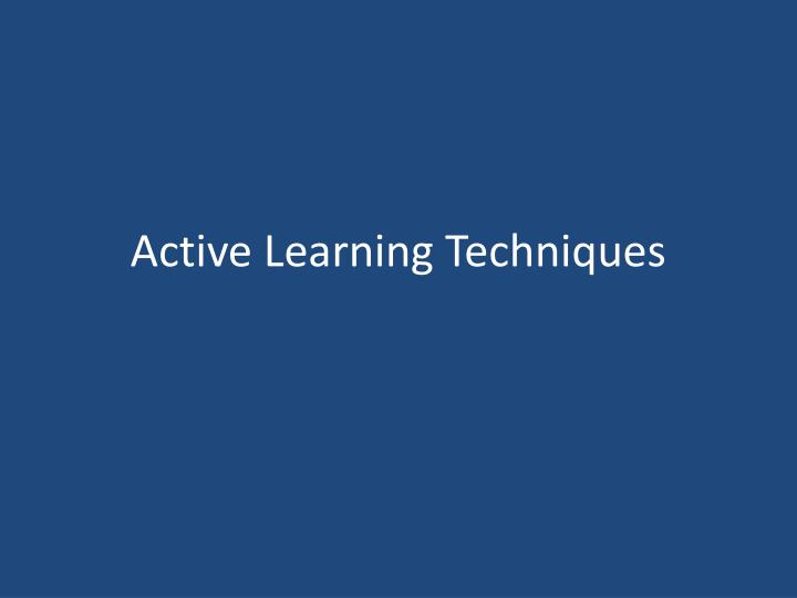 active learning techniques n.