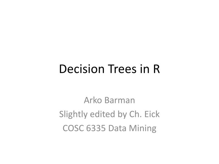 decision trees in r n.