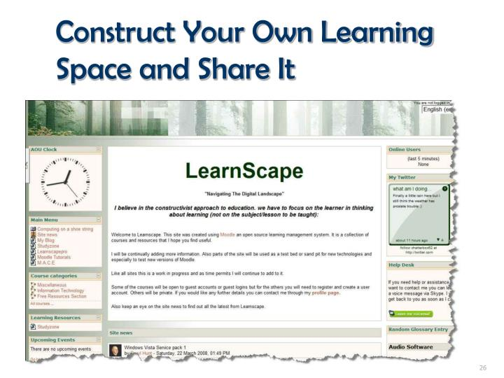 Construct Your Own Learning Space and Share It