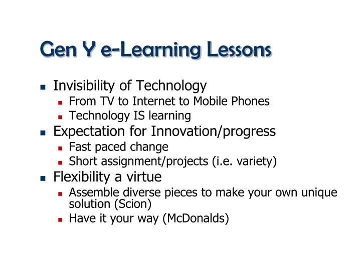 Gen Y e-Learning Lessons