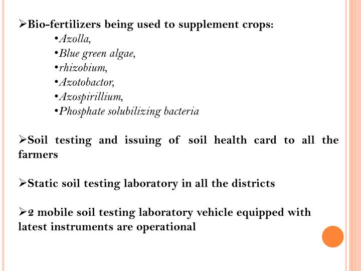 Bio-fertilizers being used to supplement crops: