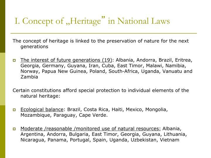 "I. Concept of ""Heritage"