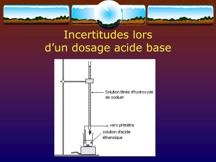 incertitudes lors d un dosage acide base n.