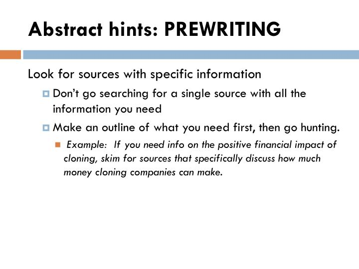 Abstract hints: PREWRITING