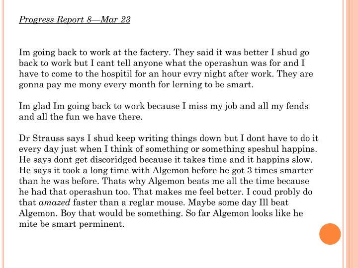 Progress Report 8—Mar 23