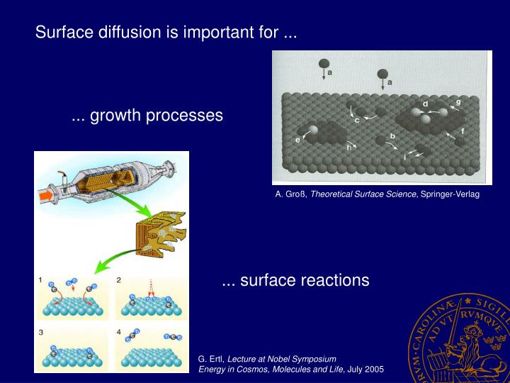Surface diffusion is important for ...