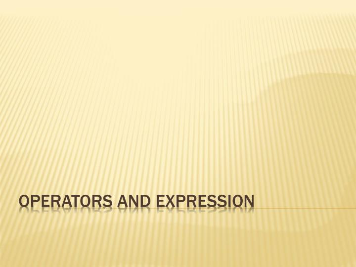 operators and expression n.