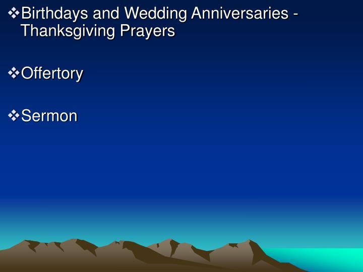 Birthdays and Wedding Anniversaries - Thanksgiving Prayers