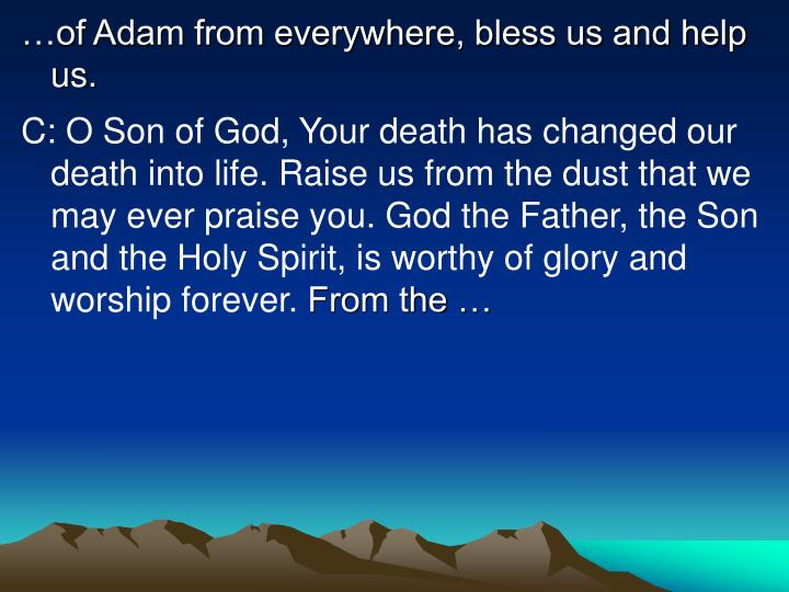 …of Adam from everywhere, bless us and help us.