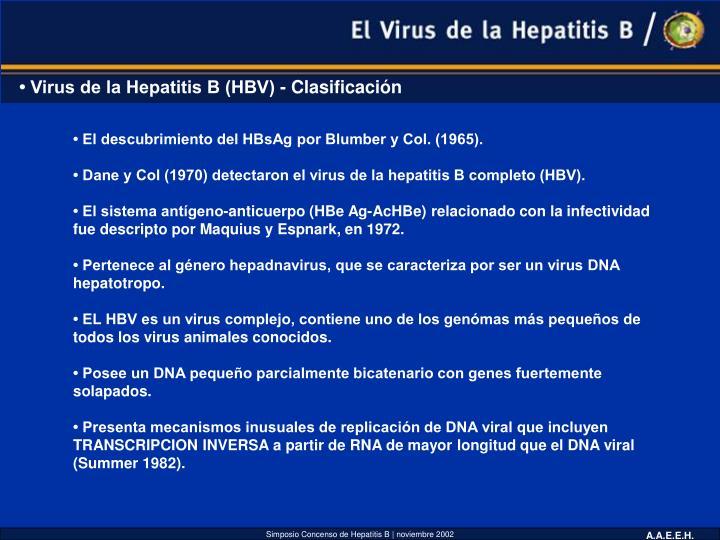 • Virus de la Hepatitis B (HBV) - Clasificación