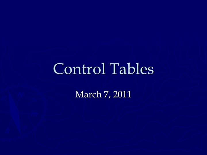 control tables n.