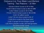 ordnance list four week land warfare training two platoons 32 men