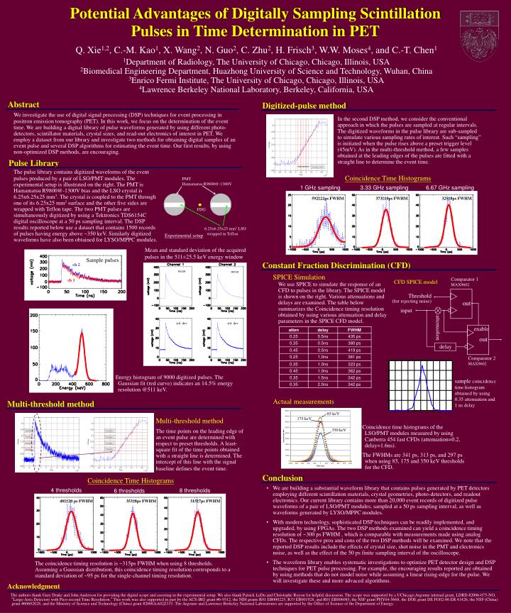 potential advantages of digitally sampling scintillation pulses in time determination in pet n.