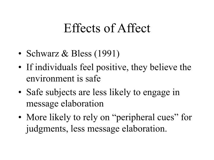 Effects of Affect