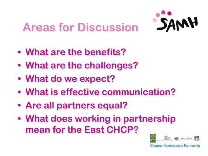 Areas for Discussion