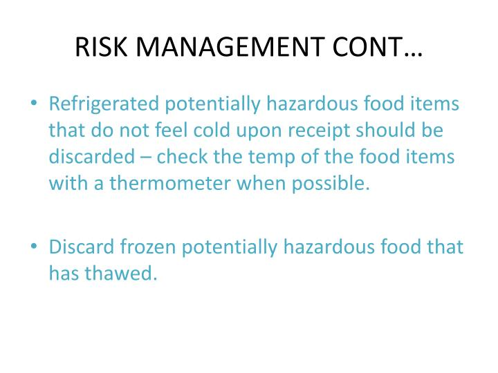 RISK MANAGEMENT CONT…