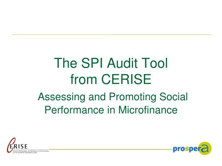 the spi audit tool from cerise assessing and promoting social performance in microfinance n.