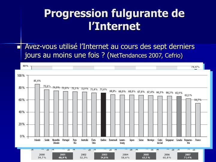 Progression fulgurante de l'Internet