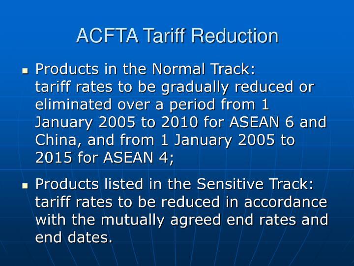 ACFTA Tariff Reduction