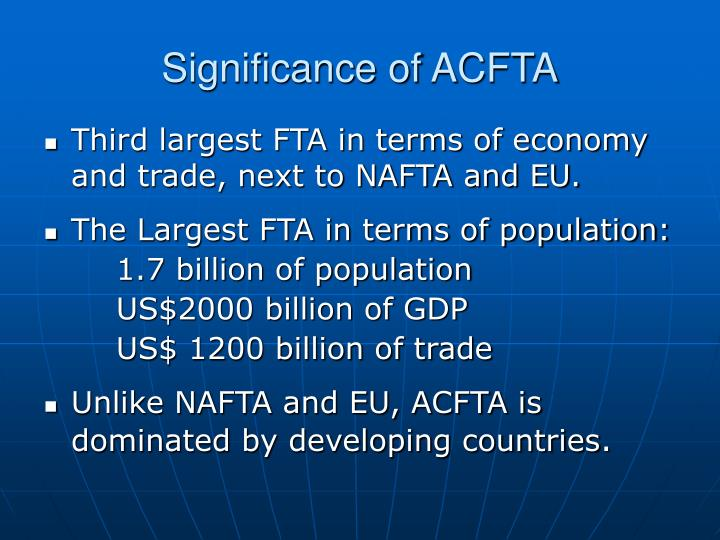 Significance of ACFTA