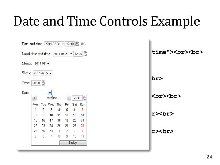 Date and Time Controls Example