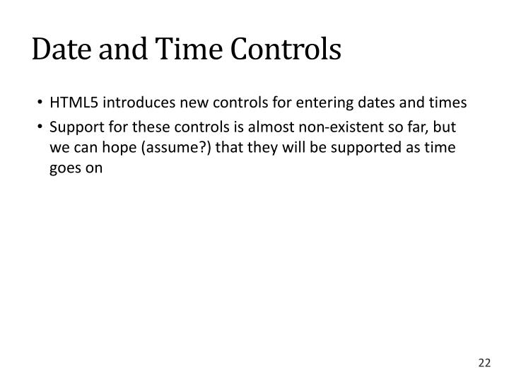 Date and Time Controls
