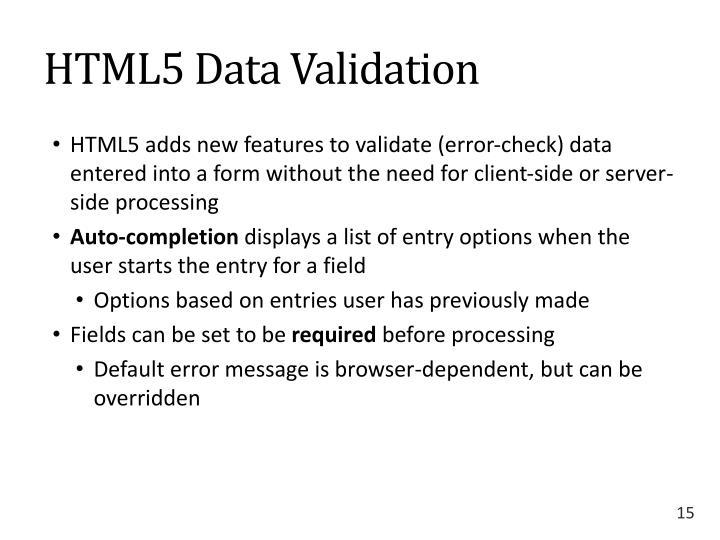 HTML5 Data Validation