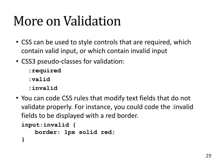 More on Validation