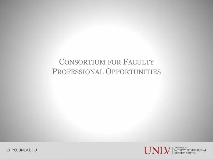 Consortium for faculty professional opportunities
