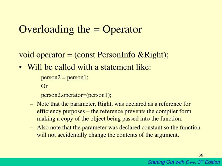 Overloading the = Operator