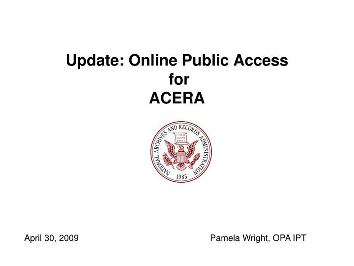 update online public access for acera n.