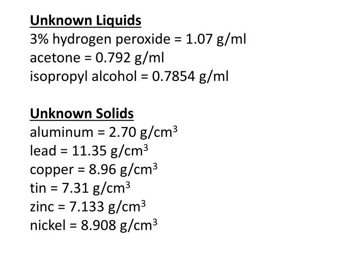 PPT - unknown-values---density-lab PowerPoint Presentation