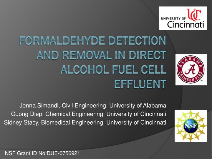 formaldehyde detection and removal in direct alcohol fuel cell effluent n.