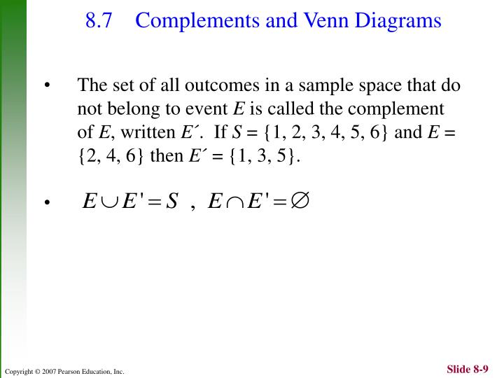 8.7 Complements and Venn Diagrams