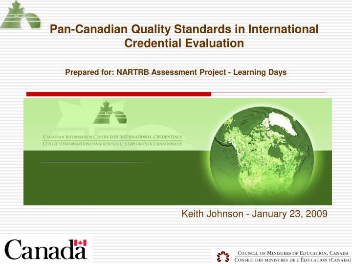 pan canadian quality standards in international credential evaluation n.