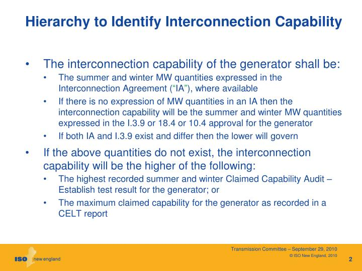 Hierarchy to identify interconnection capability1