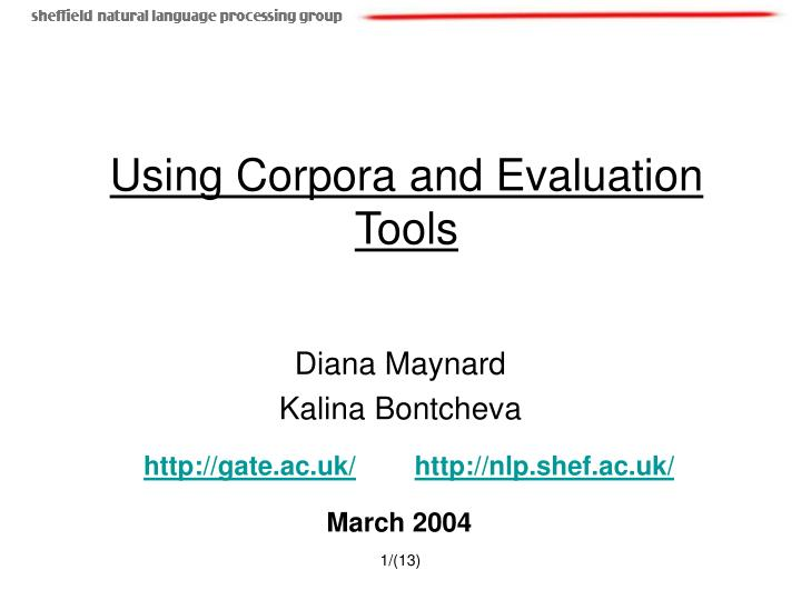 using corpora and evaluation tools n.