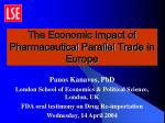 the economic impact of pharmaceutical parallel trade in europe