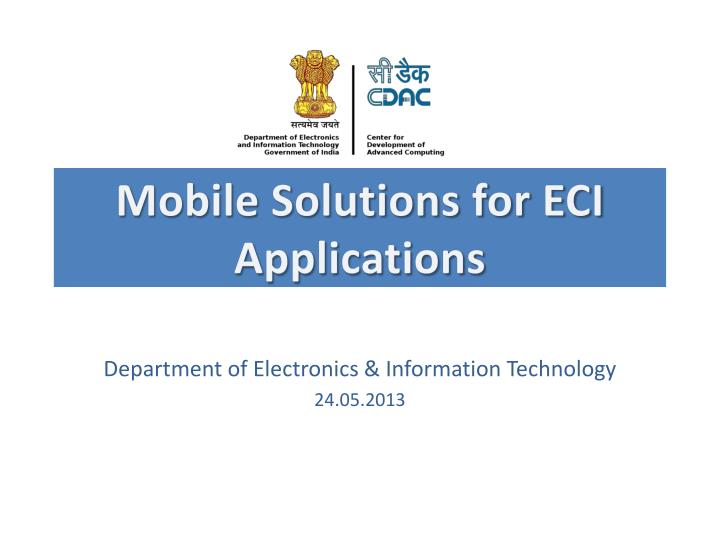 mobile solutions for eci applications n.