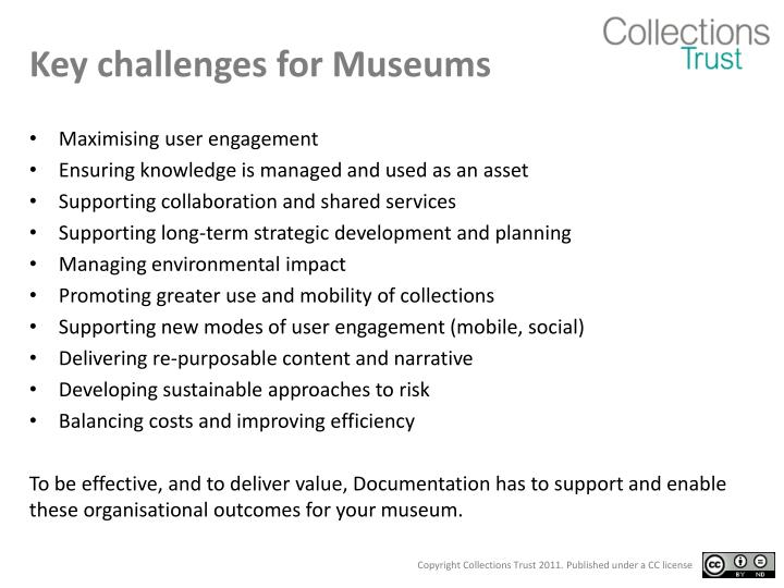 Key challenges for Museums