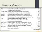 summary of metrics