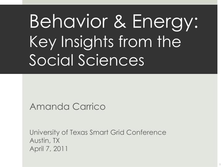 behavior energy key insights from the social sciences n.
