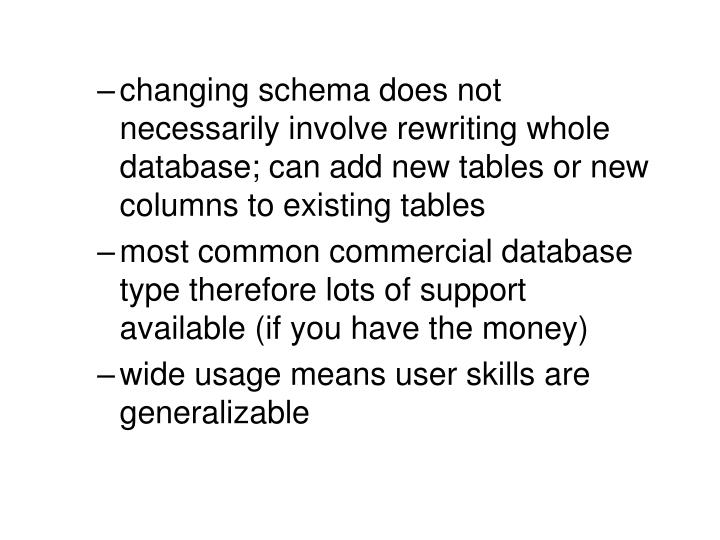 changing schema does not necessarily involve rewriting whole database; can add new tables or new columns to existing tables