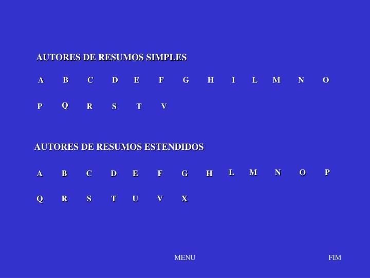 AUTORES DE RESUMOS SIMPLES