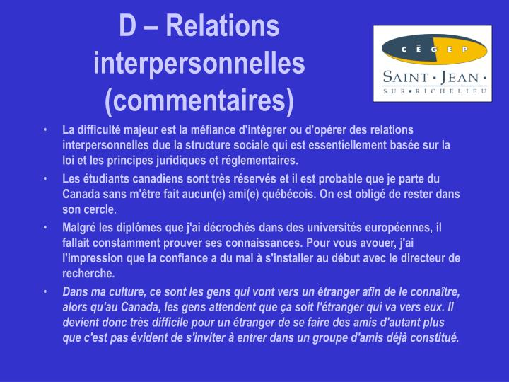 D – Relations interpersonnelles (commentaires)
