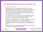 avoiding harmful exposures alcohol use