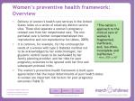 women s preventive health framework overview