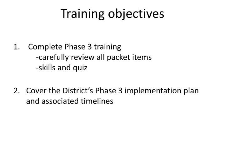 Training objectives